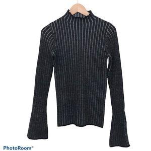 Wilfred Mocked Neck Sweater 100% Merino Wool Grey